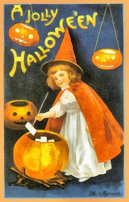Halloween Card Photograph - Pretty Little Witch In Red by Ellon Clapsaddle