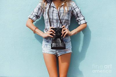 Portraits Photograph - Pretty Woman Using Vintage Camera by Siarhei Kazlou