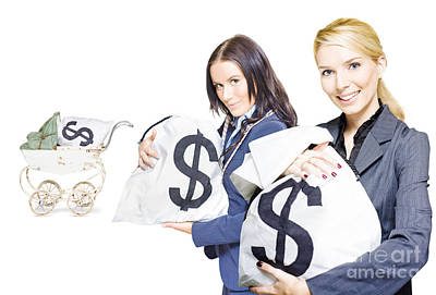 Pretty Young Business Women Holding Sacks Of Money Print by Jorgo Photography - Wall Art Gallery