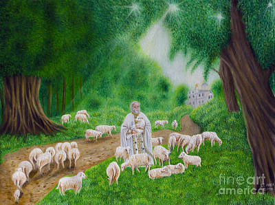 Painting - Priest And Sheep. by Fine art Photographs