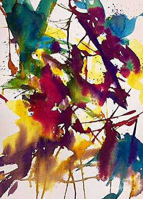 Splashy Art Painting - Primary Splatters Abstract  by Ellen Levinson