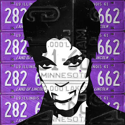 Prince Musician Portrait Made From Vintage Recycled Minnesota And Purple License Plates Print by Design Turnpike
