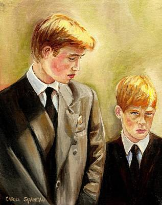 Prince Harry Painting - Prince William And Prince Harry by Carole Spandau