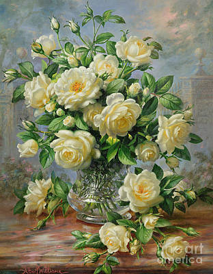 White Flowers Painting - Princess Diana Roses In A Cut Glass Vase by Albert Williams