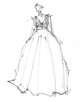 Wedding Dress Drawing - Princess Gown  by Rhonda Corley