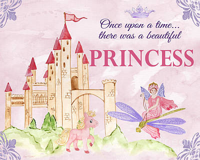 Flower Pink Fairy Child Digital Art - Princess-jp3584-b by Jean Plout
