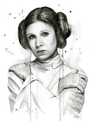 Princess Painting - Princess Leia Portrait Carrie Fisher Art by Olga Shvartsur
