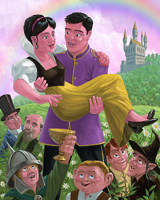 Princess Prince And Friends In Magic Kingdom Print by Martin Davey