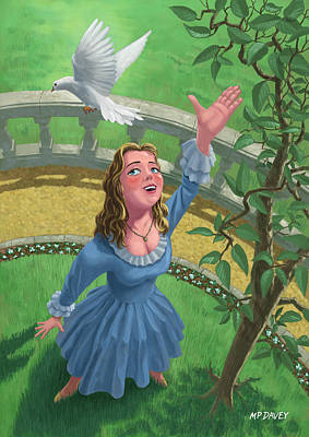 M P Davey Digital Art - Princess Releasing Bird by Martin Davey