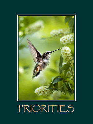 Priorities Inspirational Motivational Poster Art Print by Christina Rollo