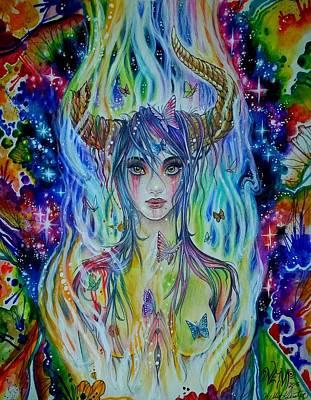 Minotaur Mixed Media - Prismo Sheonix The Deity Of Quantum Unity by Kelly Geister