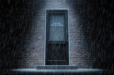 Private Eye Door Outside Rain Print by Allan Swart