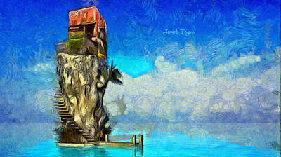 Large Painting - Private Island by Leonardo Digenio