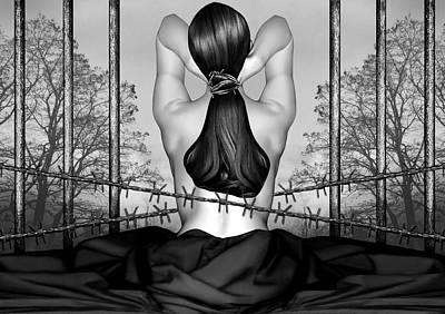 Private Prison Of Pain - Self Portrait Print by Jaeda DeWalt