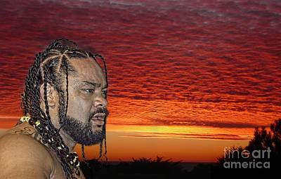 Tonga Digital Art - Pro Wrestler Jacob Fatu by Jim Fitzpatrick