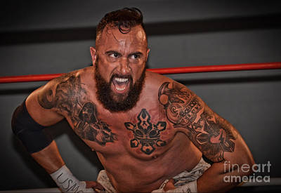 Tattoo Photograph - Pro Wrestler Will Cuevas Ready For Battle by Jim Fitzpatrick
