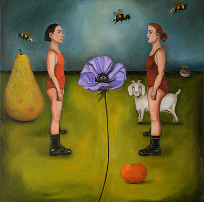 Tangerines Painting - Project X In The Garden by Leah Saulnier The Painting Maniac