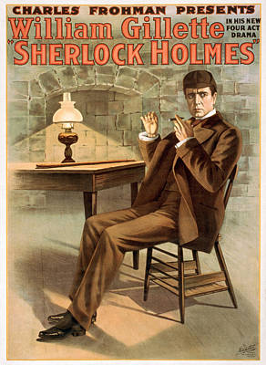 Promotional Poster For The Play Sherlock Holmes Print by William Gillette