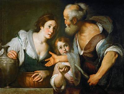Elijah Painting - Prophet Elijah And The Widow Of Sarepta by Bernardo Strozzi