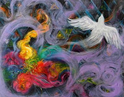 Prophetic Message Sketch Painting 10 Divine Pattern Dove Print by Anne Cameron Cutri