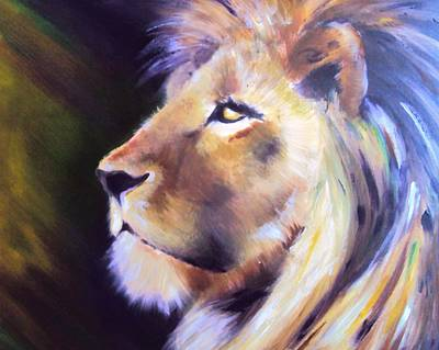 Lion Of Judah Painting - Protector by Carrie Bennett