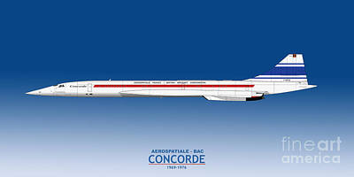 Airliners Drawing - Prototype Concorde 001 F-wtss by Steve H Clark Photography