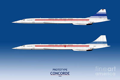 Airliners Drawing - Prototype Concordes 001 And 002 by Steve H Clark Photography