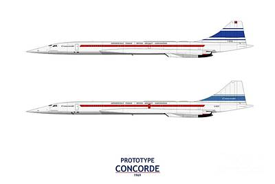 Airliners Drawing - Prototype Concordes by Steve H Clark Photography