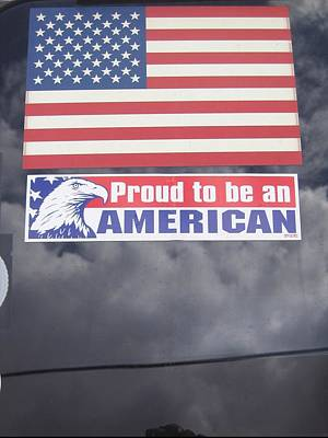 Proud To Be An American Decal Number 1 Car Window Tombstone Arizona 2004 Print by David Lee Guss