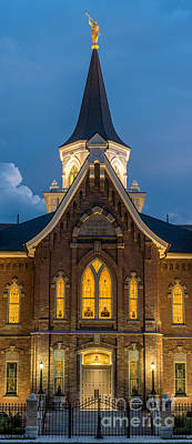 Provo City Center Temple At Night - Utah Print by Gary Whitton