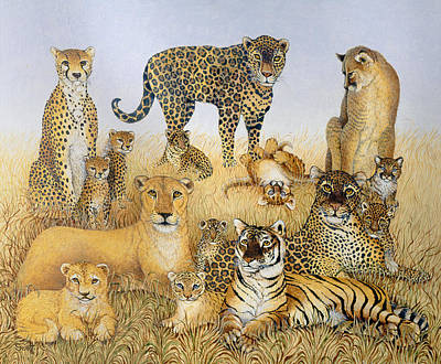 Leopard Drawing - The Big Cats by Pat Scott