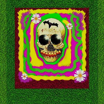 Psycadelic Groovy Sugar Skull Smiling With Gold Teeth With Flowers And A Bat Print by Pepita Selles