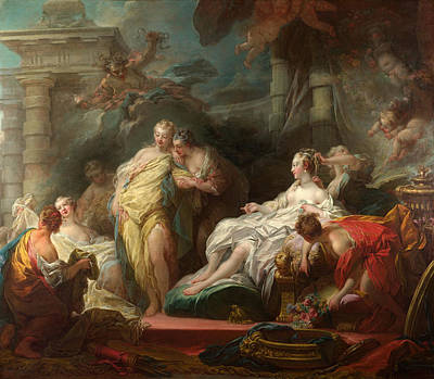 Jean-honore Fragonard Painting - Psyche Showing Her Sisters Her Gifts From Cupid by Jean-Honore Fragonard
