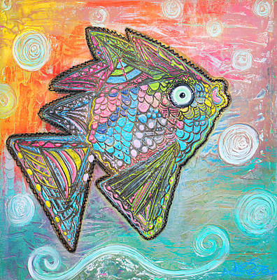 Impasto Painting - Psychedelic Fish by Laura Barbosa
