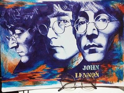 John Lennon Drawing - Psychedelic Lennon by Mean Mustard
