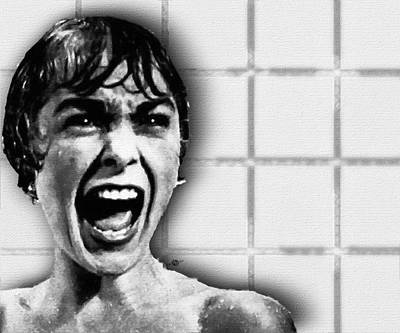 Iconic Painting - Psycho By Alfred Hitchcock, With Janet Leigh Shower Scene H Black And White by Tony Rubino