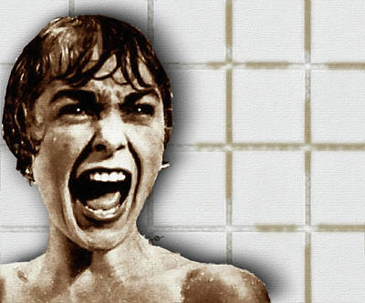 Iconic Painting - Psycho By Alfred Hitchcock, With Janet Leigh Shower Scene H Color by Tony Rubino