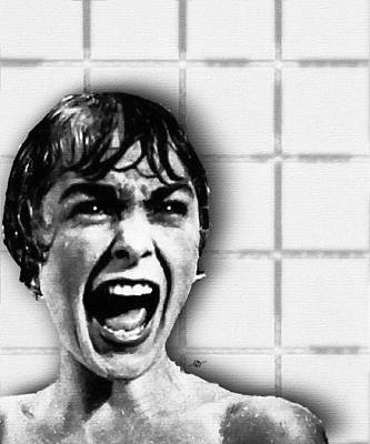 Iconic Painting - Psycho By Alfred Hitchcock, With Janet Leigh Shower Scene V Black And White by Tony Rubino