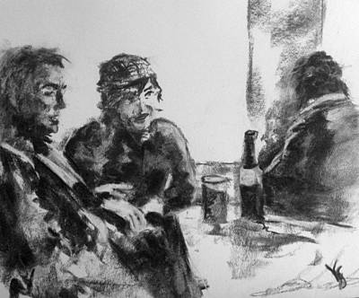 Charcoal Drawing - Pub Friends by Victoria General