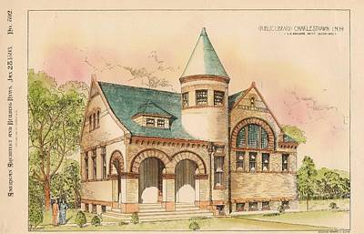 Library Painting - Public Library. Charlestown New Hampshire. 1893 by C C McAlpine