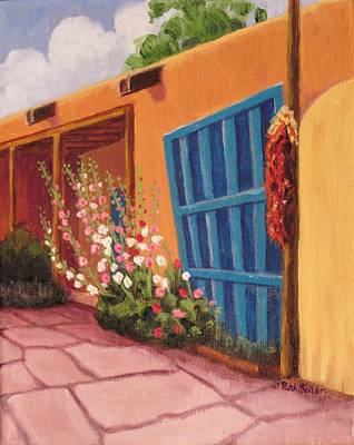 Ristra Painting - Puerta Azul En Taos by Ruth Soller