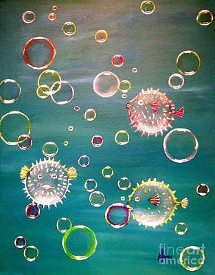 Under The Ocean Painting - Puffer Fish Bubbles by Karen Jane Jones