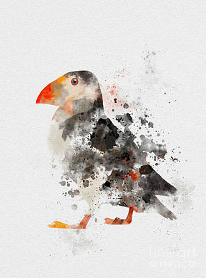 Atlantic Ocean Mixed Media - Puffin by Rebecca Jenkins
