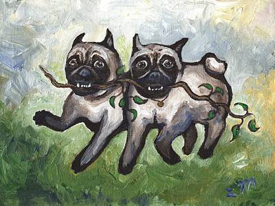 Dogs Painting - Pug Dogs Running by Linda Mears