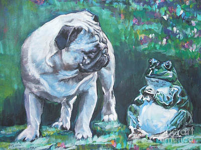 Fawn Pug Painting - Pug Fawn With Frog by Lee Ann Shepard