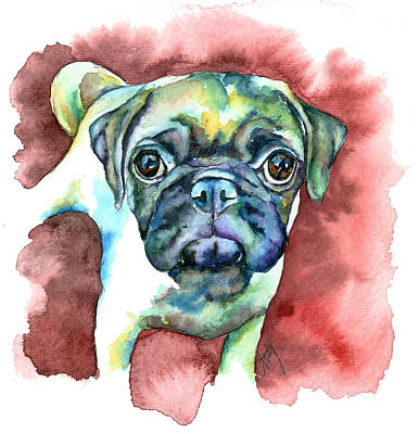 Fawn Pug Painting - Pug In Red by Christy  Freeman
