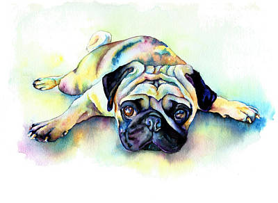 Fawn Pug Painting - Pug Laying Flat by Christy  Freeman
