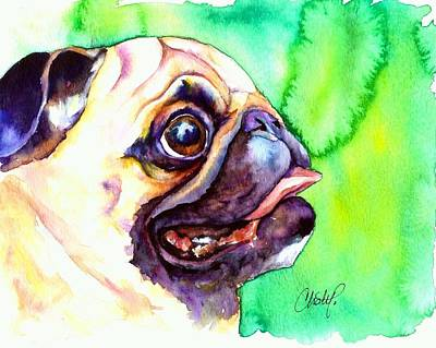 Fawn Pug Painting - Pug Profile by Christy  Freeman