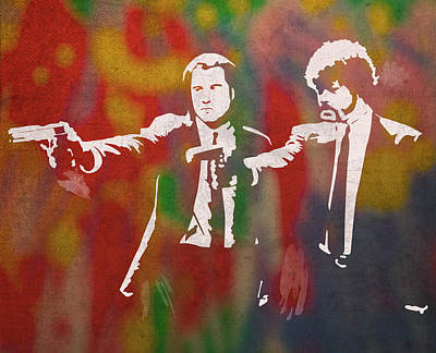 Hollywood Mixed Media - Pulp Fiction Movie Minimal Silhouette Watercolor Painting by Design Turnpike