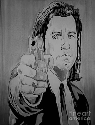 Tarantino Film Painting - Pulp Fiction. Vincent Black And White by Chris Harland